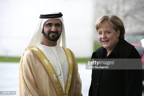GERMANY BERLIN Sheik Mohammed bin RASHID Al MAKTOUM Premierminister of the United Arab Emirates during his state visit in Germany and Angela MERKEL...
