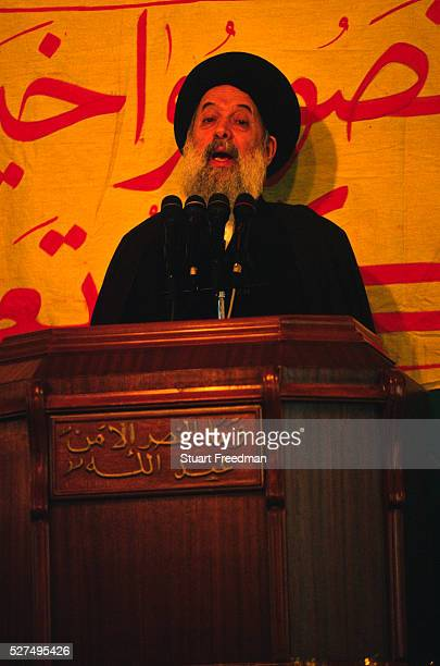Sheik Muhammed Husayn Fadlallah spiritual leader of Iranian backed Hezbollah militia making a speech in a mosque in the Southern Suburbs of Beirut...