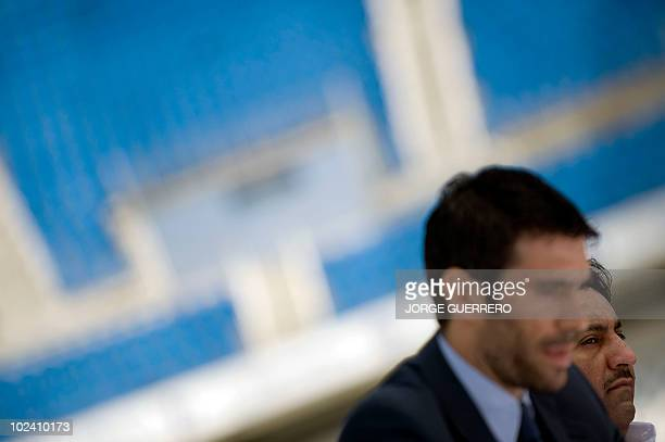 Sheikh Abdallah Ben Nasser AlThani a member of the Qatari ruling family and the President of Malaga football club Fernando Sanz attend the...