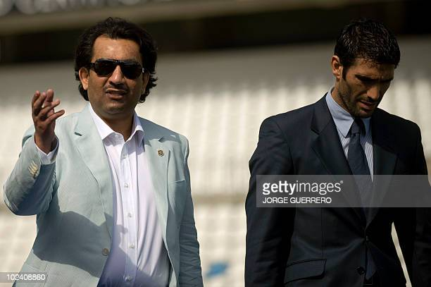 Sheikh Abdallah Ben Nasser AlThani a member of the Qatari ruling family arrives with the President of Malaga football club Fernando Sanz for his...