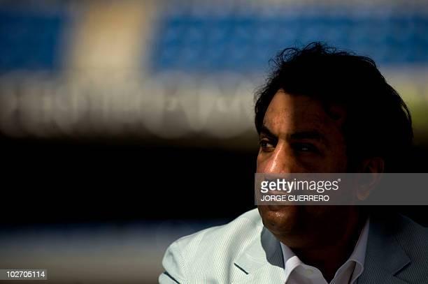 Sheikh Abdallah Ben Nasser AlThani a member of the Qatari ruling family gestures durin his presentation as chairman of Spanish First Division...