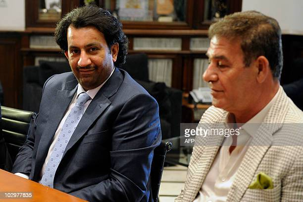 Sheikh Abdallah Ben Nasser AlThani a member of the Qatari ruling family sits during an interview with unseen President of Andalucia Jose Antonio...