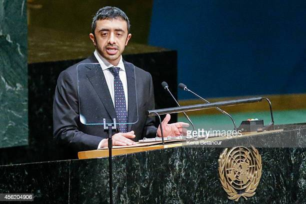 Sheikh Abdullah Bin Zayed Al Nahyan Minister for Foreign Affairs of the United Arab Emirates speaks at the 69th United Nations General Assembly on...