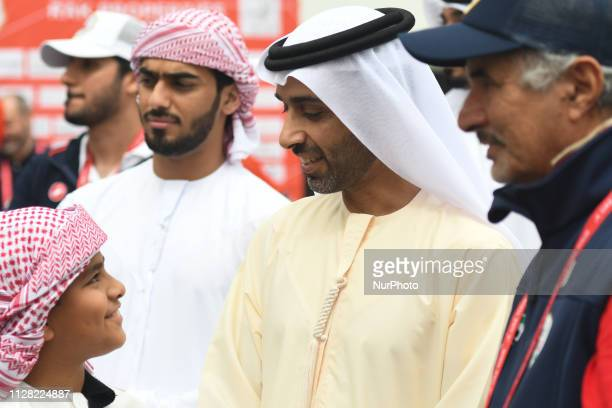 Sheikh Ahmed bin Humaid Al Nuaimi Chairman of the Economic Department of Ajman Emirate seen at the start line of the sixth Rak Properties Stage of...