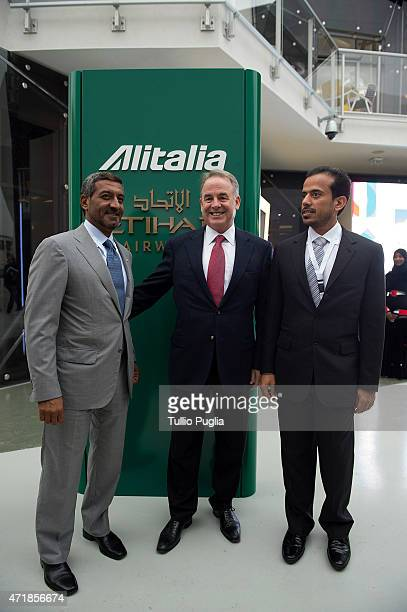 Sheikh Ahmed bin Saeed Al Maktoum and James Hogan PCEO of Etihad Airways visit the AlitaliaEtihad pavillon of the EXPO 2015 at Fiera Milano Rho on...