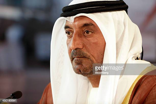 Sheikh Ahmed bin Saeed Al Maktoum chairman and chief executive officer of Emirates Airline listens during a news conference at the 13th Dubai Airshow...