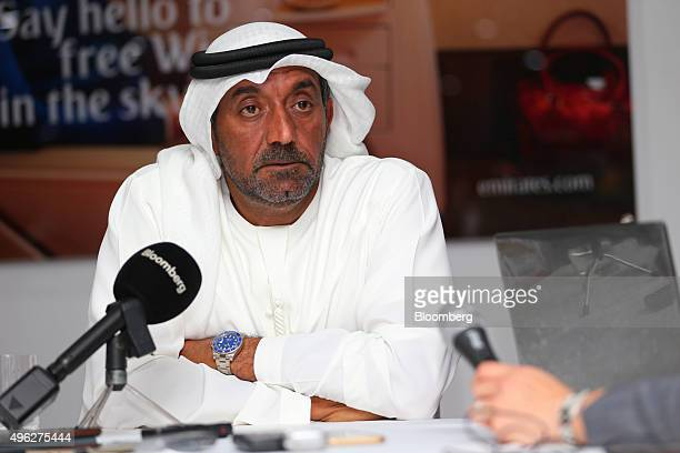 Sheikh Ahmed bin Saeed Al Maktoum chairman and chief executive officer of Emirates Airline pauses while speaking to reporters on the opening day of...
