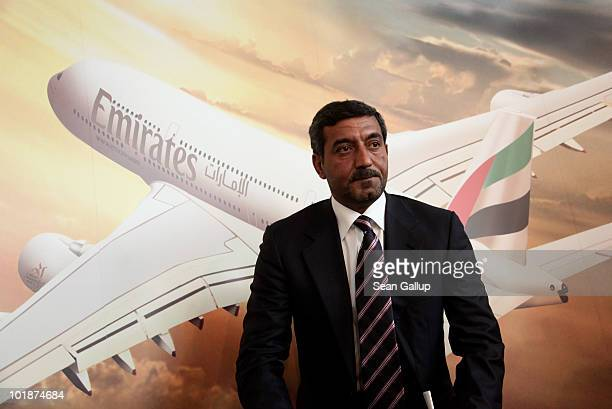 Sheikh Ahmed bin Saeed Al Maktoum Chairman of Emirates airline attends a press conference at which he announced that Emirates is to purchase more...