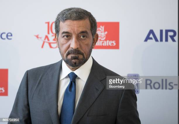 Sheikh Ahmed bin Saeed Al Maktoum chief executive officer of Emirates Airlines attends a news conference as Emirates take delivery of their 100th...