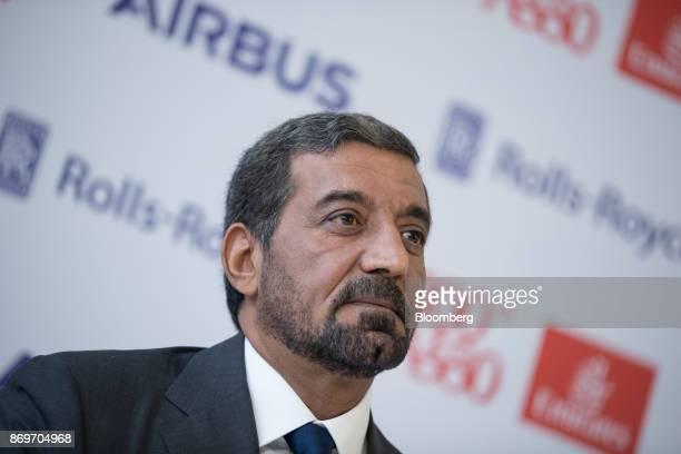 Sheikh Ahmed bin Saeed Al Maktoum chief executive officer of Emirates Airlines looks on during a news conference as Emirates take delivery of their...