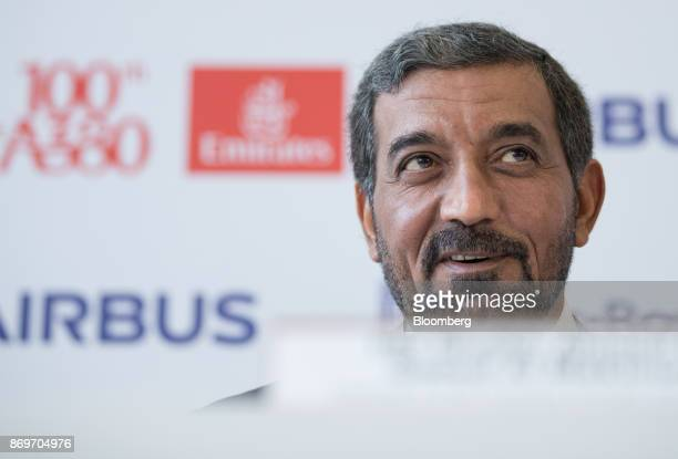 Sheikh Ahmed bin Saeed Al Maktoum chief executive officer of Emirates Airlines speaks during a news conference as Emirates take delivery of their...