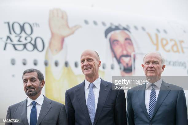 Sheikh Ahmed bin Saeed Al Maktoum chief executive officer of Emirates Airlines left Tom Enders chief executive officer of Airbus SE center and Tim...