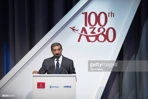 Sheikh Ahmed bin Saeed Al Maktoum chief executive officer of Emirates Airlines speaks during the delivery ceremony as Emirates take delivery of their...