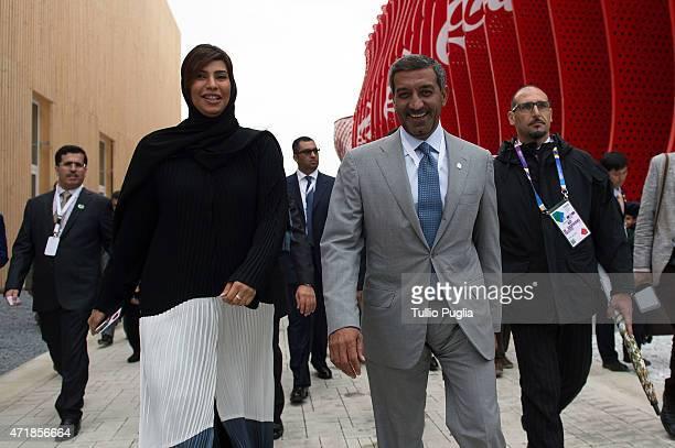Sheikh Ahmed bin Saeed Al Maktoum visits the AlitaliaEtihad pavillon of the EXPO 2015 at Fiera Milano Rho on May 1 2015 in Milan Italy