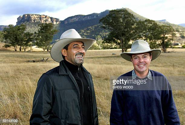 Sheikh Ahmed bin Saeed AlMaktoum chairman of the Emirates Group inspects 24 June 2005 the site of the new Emirates sixstar Wolgan Valley Resort and...