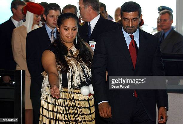 Sheikh Ahmed bin Saeed AlMaktoum is welcomed by a Maori Cultural Group member after the Emirates inaugural flight touches down at Auckland...