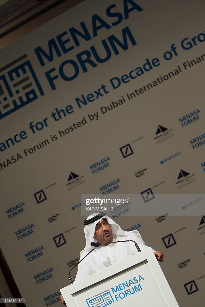 Sheikh Ahmed bin Saeed al-Maktoum, who chairs the committee and is head of the Emirates Group., speaks at the opening session of the MENASA economic forum in Dubai on May 23, 2010. The governments of both Dubai and the United Arab Emirates are to implement urgent reforms to address weaknesses in their financial systems, Sheikh Ahmed told the MENASA Forum, a two-day conference on the economic and financial situation in the Middle East, North Africa and South Asia.