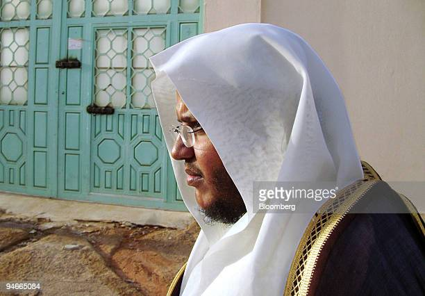 Sheikh Ahmed Jelan an Islamic scholar who teaches classes on Islamic Jihad to Saudi militants stands outside a detention facility outside of Riyadh...
