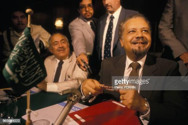Sheikh Ahmed Zaki Yamani ministre saoudien du Pétrole à la Conférence de l'OPEP le 24 juillet 1985 à Genève Suisse