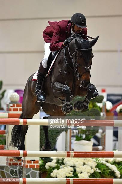 Sheikh Ali of Quatar, rides Carolina 31 during the Longines FEI World Cup Jumping Verona 2016 on November 13, 2016 in Verona, Italy.