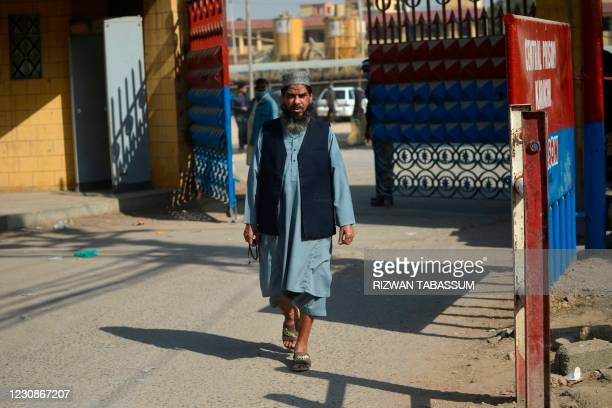 Sheikh Aslam, brother ofSheikhAdil, one of the accused of murdering US journalist Daniel Pearl, walks out from the central prison where...