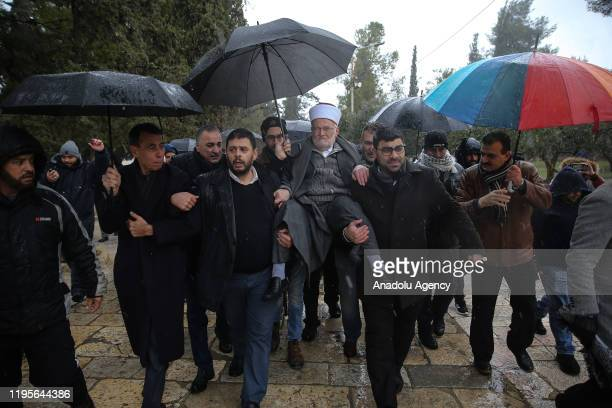 Sheikh Ekrima Sabri , the grand mufti of Jerusalem, manages to enter the flashpoint Al-Aqsa Mosque, despite an earlier Israeli ban, in Jerusalem on...