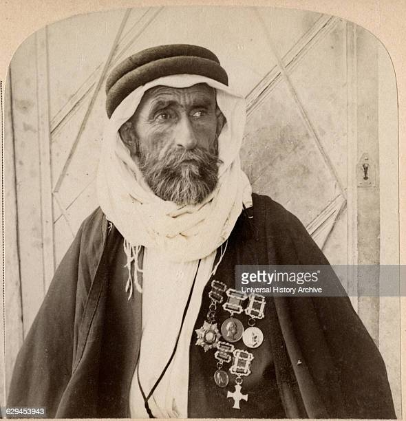 Sheikh el Rachid Chief of the Escorts and greatest Bedouin of Palestine Single Image of Stereo Card 1900