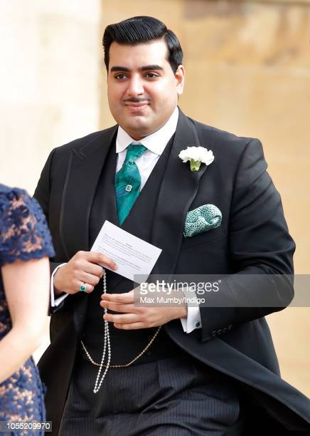 Sheikh Hamad Bin Abdullah Al Thani attends the wedding of Princess Eugenie of York and Jack Brooksbank at St George's Chapel on October 12 2018 in...