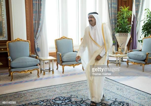 Sheikh Hamad bin Khalifa Al Thani ruling Emir of Qatar on June 05 in Doha Qatar Photo by Thomas Koehler/Photothek via Getty ImagesHamad bin Khalifa...