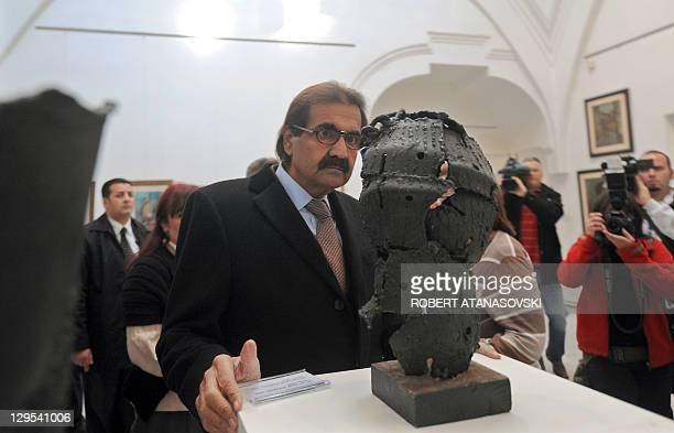 Sheikh Hamad bin Khalifa Al Thani, the Emir of Qatar accompanied by the Macedonian president Gjorge Ivanov visits the Art Gallery – Daut Pasin Amam...