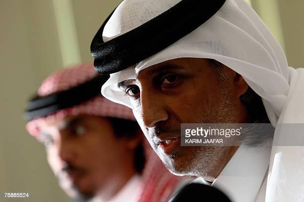 Sheikh Hamad bin Khalifa bin Ahmed alThani president of Qatar's Football Federation speaks to the press after Uruguayan Jorge Fossati former football...
