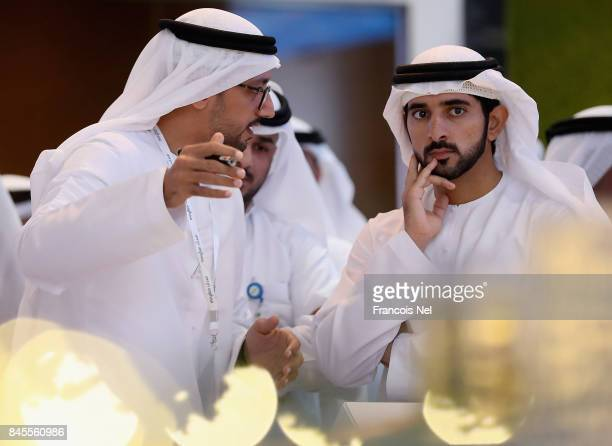 Sheikh Hamdan Bin Mohammed Bin Rashid Al Maktoum Crown Prince of Dubai attends Cityscape Global at Dubai World Trade Centre on September 11 2017 in...
