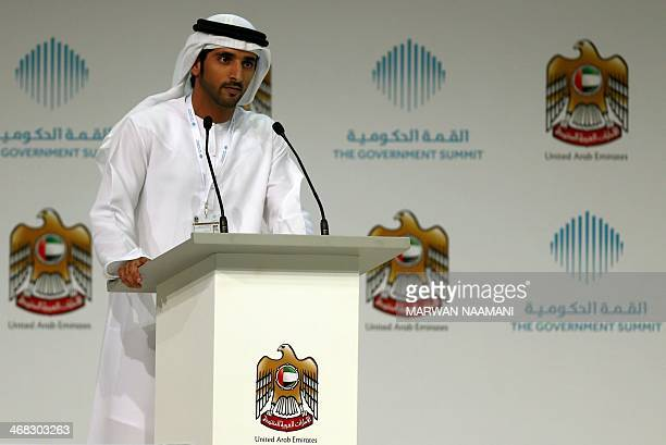 Sheikh Hamdan bin Mohammed bin Rashid alMaktoum crown prince of Dubai gives a speach at the first day of the government summit in Dubai on February...