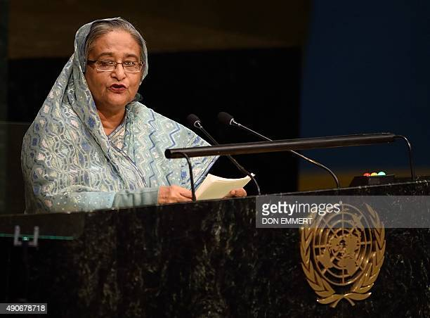 Sheikh Hasina Prime Minister of Bangladesh addresses the 70th session of the United Nations General Assembly September 30 2015 at the United Nations...