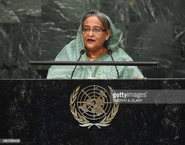 Sheikh Hasina Prime Minister of Bangladesh speaks to the United Nations Sustainable Development Summit at the United Nations General Assembly in New...
