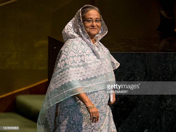 Sheikh Hasina Prime Minister of the People's Republic of Bangladesh before addressing the 67th United Nations General Assembly meeting September 27...