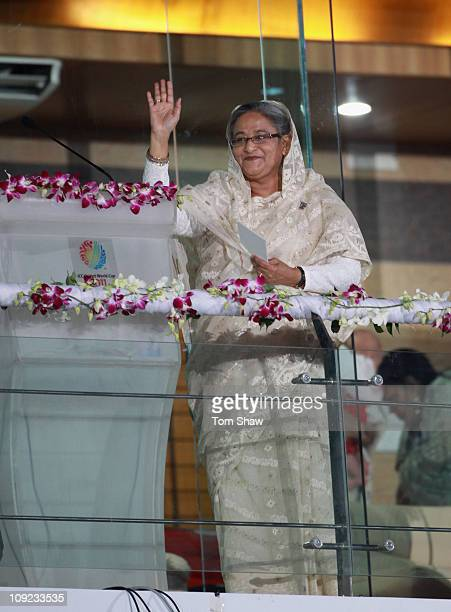 Sheikh Hasina the Bangladesh Prime Minister addresses the crowd during the 2011 ICC World Cup Opening Ceremony at the Bangabandhu National Stadium on...