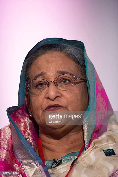 Sheikh Hasina the Prime Minister of Bangladesh speaks at the 'Girl Summit 2014' in Walworth Academy on July 22 2014 in London England At the oneday...