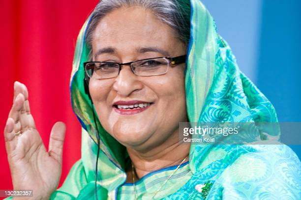 Sheikh Hasina Wajed Bangladesh's prime minister attends a press conference with German Chancellor Angela Merkel at the Chancellory on October 25 2011...