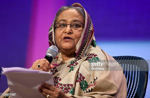 Sheikh Hasina Wajed Bangladesh's prime minister speaks at the Clinton Global Initiative in New York US on Tuesday Sept 20 2011 The sevenyearold...