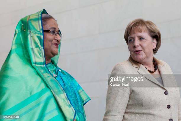 Sheikh Hasina Wajed Bangladesh's prime minister talks to German Chancellor Angela Merkel after a press conference at the Chancellory on October 25...