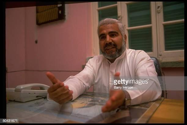 Sheikh Hossain Nimr Anbar, dir. Of Palestinian Islamic Jihad group Sudan office, speaking, in his office.