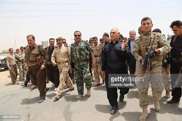 Sheikh Jaafar Mustafa the Kurdish Regional Government's Minister responsible for the Peshmerga visits Kurdish Peshmerga forces and Iraqi special...