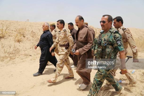 Sheikh Jaafar Mustafa , the Kurdish Regional Government's Minister responsible for the Peshmerga, visits Kurdish Peshmerga forces and Iraqi special...