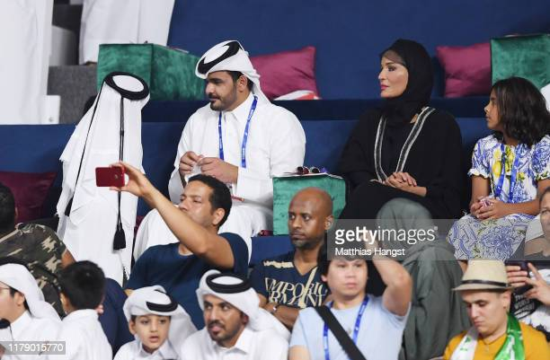 Sheikh Joaan bin Hamad Al Thani President of the Qatar Olympic Committee and mother Sheikha Mozah bint Nasser attend day eight of 17th IAAF World...