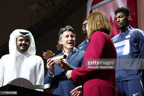 Sheikh Joaan bin Hamad Al Thani President of the Qatar Olympic Committee IAAF President Lord Sebastian Coe and Oregon Governor Kate Brown take part...