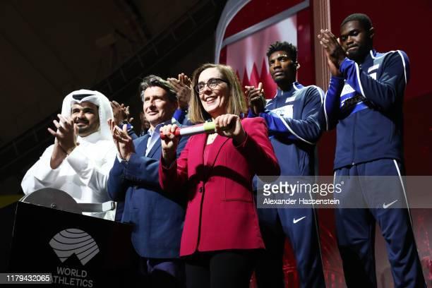 Sheikh Joaan bin Hamad Al Thani, President of the Qatar Olympic Committee, IAAF President Lord Sebastian Coe and Oregon Governor Kate Brown take part...