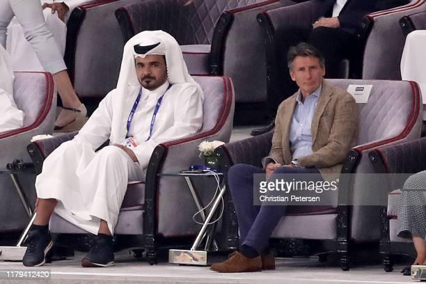 Sheikh Joaan bin Hamad Al Thani President of the Qatar Olympic Committee sits next to IAAF President Lord Sebastian Coe during day ten of 17th IAAF...