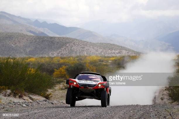 Sheikh Khalid Al Qassimi of Abu Dhabi and Peugoet PH Sport drives with codriver Xavier Panseri of France in the 3008 DKR Peugeot car in the Classe...