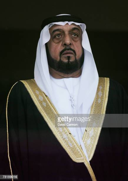 Sheikh Khalifa Bin Zayed Al Nahyan President of the UAE stands during the national anthems before the final of the Arabian Gulf Cup between United...
